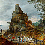 Jan Brueghel The Elder - A Coastal Landscape with Fishermen with their Catch by a Ruined Tower