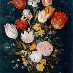 Jan Brueghel The Elder - Flowers in a Glass