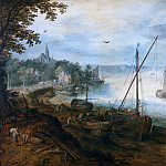 Jan Brueghel The Elder - River landscape with woodcutters