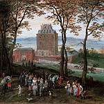 Archduke Albrecht and Isabella in front of Mariemont Castle