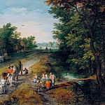 Jan Brueghel The Elder - Landscape with Travellers and Inn