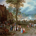 Jan Brueghel The Elder - Village Street with Canal