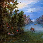 Jan Brueghel The Elder - A river running through a village