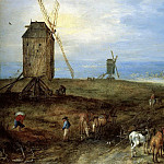 Jan Brueghel The Elder - LANDSCAPE WITH TRAVELLERS BEFORE A WINDMILL