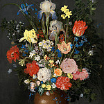 A still life with flowers in a stoneware vase, Jan Brueghel The Elder