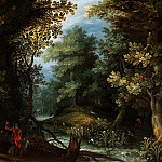 Hunters with hounds by a stream in a forest, Jan Brueghel The Elder