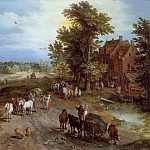 Jan Brueghel The Elder - Landscape with village tavern