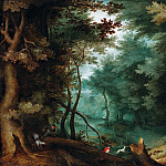 Jan Brueghel The Elder - Forest landscape with hunters