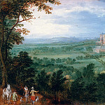 Jan Brueghel The Elder - Archduke Albert before Mariemont Castle