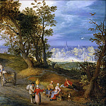 Jan Brueghel The Elder - Landscape with figures on a road