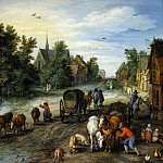 Jan Brueghel The Elder - Village Street with Resting Travelers