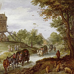 Jan Brueghel The Elder - Landscape with Flooded Road and Windmill