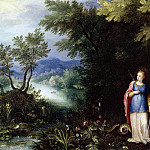 Jan Brueghel The Elder - Saint Margaret And The Dragon In A Landscape