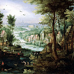 Jan Brueghel The Elder - River Landscape With Bathing Figures And Boats