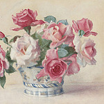 George Lawrence Bulleid - A still life of Roses in a porcelain bowl