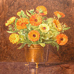 George Lawrence Bulleid - Still life of marigolds in a brass vase