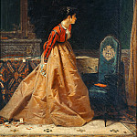 Playing cards or indoors with a female figure