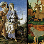 The Return of Judith and Landscape with roe deer and monkeys , Alessandro Botticelli