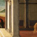 Alessandro Botticelli - The altar of the Holy Trinity, predella - The Last Moments of Saint Mary Magdalene