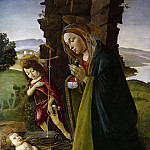 Madonna with John the Baptist adoring the Christ Child , Alessandro Botticelli