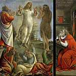 Triptych showing the Transfiguration with Saints Jerome and Augustine, Alessandro Botticelli