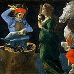 Alessandro Botticelli - Coronation of the Virgin, predella - Miracle of St. Eligius