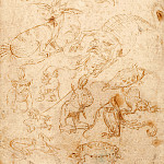 Sketch sheet with monsters, Hieronymus Bosch