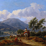 Nicolaes (Claes Pietersz.) Berchem - Mountain landscape with two shepherds and a shepherdess and herd