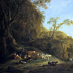Nicolaes (Claes Pietersz.) Berchem - An Italianate landscape with shepherds