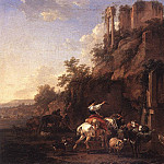 Nicolaes (Claes Pietersz.) Berchem - Rocky Landscape with Antique Ruins