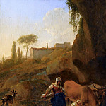 Nicolaes (Claes Pietersz.) Berchem - A Rocky Southern Landcape With Two Peasant Women