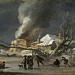 Nicolaes (Claes Pietersz.) Berchem - Winter landscape with lime kiln