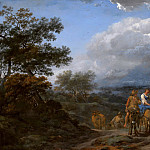 Nicolaes (Claes Pietersz.) Berchem - A Hilly Landscape With Herdsmen And Cattle