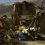 Nicolaes (Claes Pietersz.) Berchem - A shepherdess milking a goat, a peasant shearing a sheep