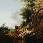 Nicolaes (Claes Pietersz.) Berchem - Landscape with a Nymph and a Satyr