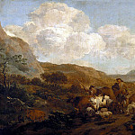 Nicolaes (Claes Pietersz.) Berchem - Two shepherd leading a flock
