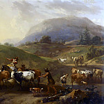 Nicolaes (Claes Pietersz.) Berchem - Mountainous landscape with herdsmen driving cattle