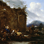 Nicolaes (Claes Pietersz.) Berchem - A Farrier and Peasants near Roman Ruins