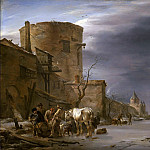 Haarlem City Wall in the winter, Nicolaes (Claes Pietersz.) Berchem