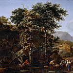 Nicolaes (Claes Pietersz.) Berchem - Landscape with herd at the watering