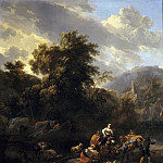 Nicolaes (Claes Pietersz.) Berchem - Italianate landscape with figures and pack animals at a riverbank
