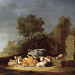 Nicolaes (Claes Pietersz.) Berchem - Landscape With A Shepherd And A Shepherdess Resting With Their Cattle By A Watering Place