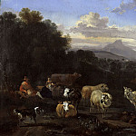 Nicolaes (Claes Pietersz.) Berchem - Italian landscape with shepherds and herd