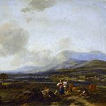 Nicolaes (Claes Pietersz.) Berchem - Italianate River Landscape With Herders Dancing