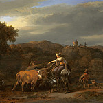 Nicolaes (Claes Pietersz.) Berchem - An Evening Landscape with Drovers and their Animals