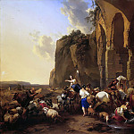 Italian landscape with shepherds and herd at the Roman ruins