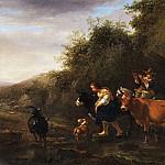 Nicolaes (Claes Pietersz.) Berchem - Farmers crossing a stream