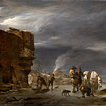 On the ice near the town, Nicolaes (Claes Pietersz.) Berchem