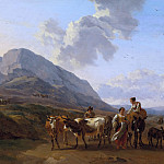 Nicolaes (Claes Pietersz.) Berchem - Mountain landscape with shepherds