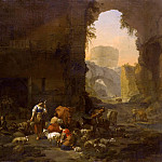 The shepherds with a herd among the ruins, Nicolaes (Claes Pietersz.) Berchem